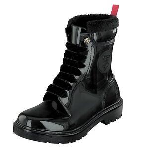 Gosch-Shoes-Sylt-Mujer-Botas-de-Goma-con-Cordones-71051-301-9-Negro-Resistente