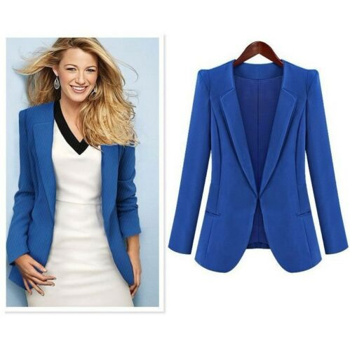 Donna Business Tempo Libero Giacca Blazer Top Nuovo Nero BLU S 4XL Bc557