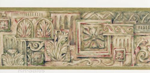 Tuscan Designer Acanthus Leaf Block Leaves Rose Green Sage Wallpaper Wall Border