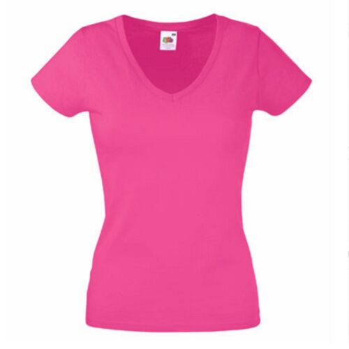 Lady Fit Damen Woman Valueweight Value T-Shirt Shirt Fruit of the loom V-Neck T