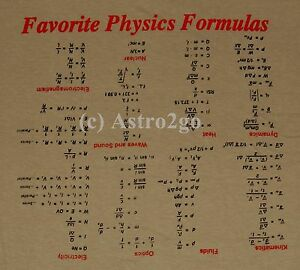 Details about FAVORITE PHYSICS FORMULAS-Upside Down Cheat Math Equations  Teacher T shirt S-2XL