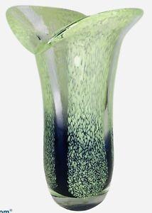 "Cobalt Blue Lime Green Teleflora Hand Blown 8"" tall  Speckled Art Glass Vase"