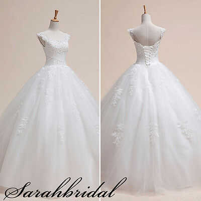 A-line Cap Sleeve Lace Bridal Dresses Ball Gown Wedding Dresses Size 8 10 12 14+