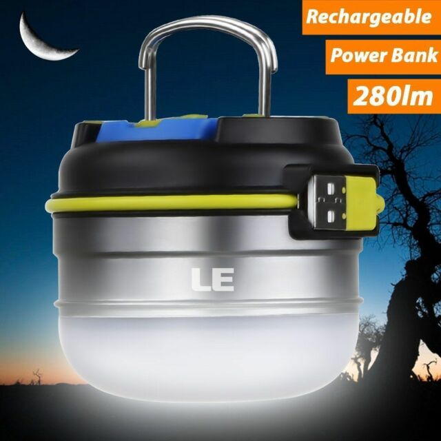 LED Camping Lamp Tent Lantern Rechargeable 3 Light Mode+280lm/3000mAh Power Bank