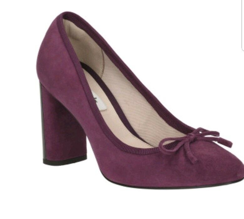 CLARKS IDAMARIE FAYE SUEDE LEATHER PLUM BOW BLOCK HEEL COURT chaussures Taille 6.5 D...