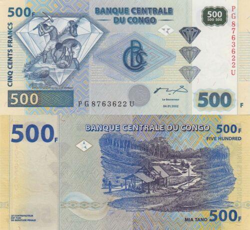Congo DR 500 Francs 04.01.2002 Diamond//Diamond Miners//p96 UNC