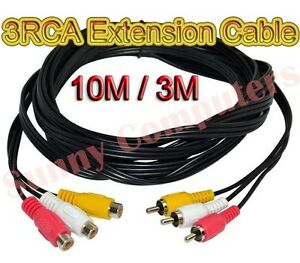 3RCA-Audio-Video-AV-Composite-Extension-Cable-M-F-Cord-DVD-TV-Adapter-10M-3M-AU