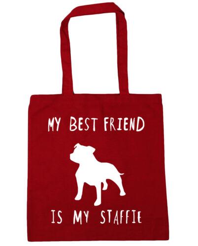 10 litres My best friend is my Staffie Tote Shopping Gym Beach Bag 42cm x38cm