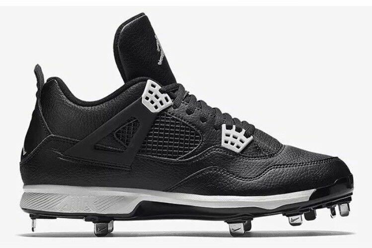 Casual wild Nike Air Jordan 4 IV Retro Metal Baseball Cleats Oreo Black 807710-010 Comfortable