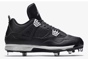 4e8e0c21cb0 Nike Air Jordan 4 IV Retro Metal Baseball Cleats Oreo Black 807710 ...
