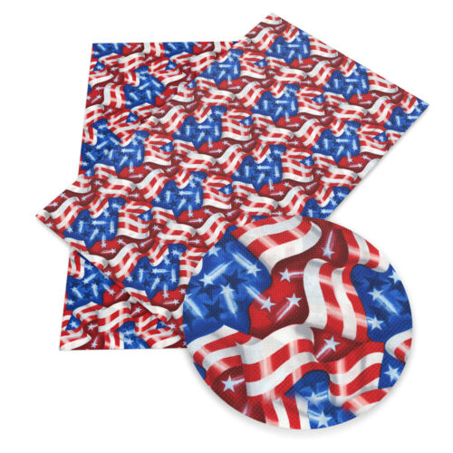 20 cm*34 cm Fourth of July Independence Day Flags Printed Faux Leather Sheet