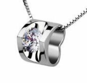 726332c183e15 Details about SILVER Made With SWAROVSKI Elements CRYSTAL Heart Pendant  Necklace