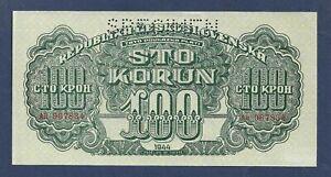 DN-Czechoslovakia-Checoslovaquia-100-Korun-1944-Specimen-P-48-SC-UNC