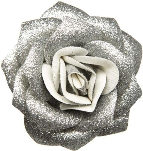 60083 Silver Glitter Rose Flower Hair Clip Sourpuss Pinup Retro Kawaii Sparkles