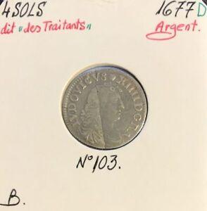 4-SOLS-dit-des-Traitants-Louis-XIV-1677D-Piece-de-Monnaie-en-Argent-B