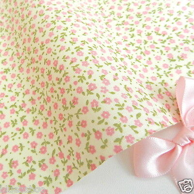 "Mini floral Ivory & pink 100% cotton fabric  45 "" wide * sold by the 1/2 metre"