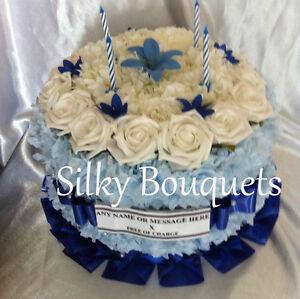 Incredible Artificial Silk Flower Birthday Cake Tribute Funeral Memorial Funny Birthday Cards Online Elaedamsfinfo