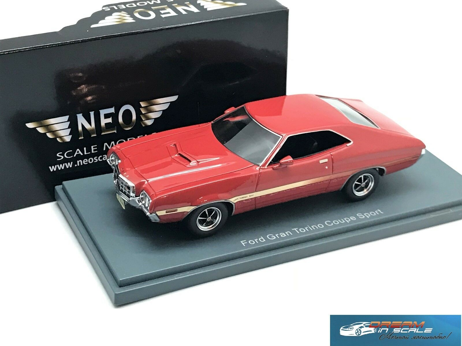 Ford Gran Torino Coupe röd 1972 NEO 44740 1 43