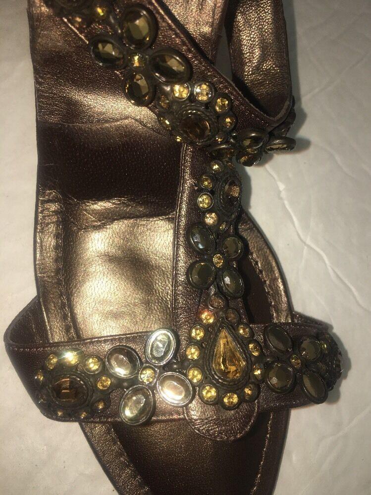 Manolo Blahnik Jeweled schuhe Bronze Heavy Jeweled Blahnik  Size 40 6c1bbe