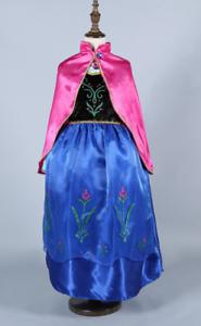 Fancy Dresses Kids Girls Skirt Cloth Party dress Costume Princess Anna Cosplay