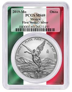 2019-Mexico-1oz-Silver-Onza-Libertad-PCGS-MS69-First-Strike-Flag-Picture-Frame