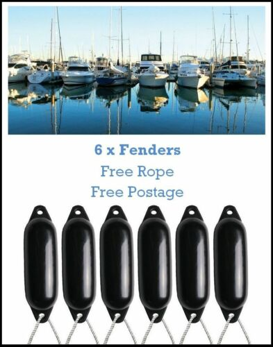 FREE ROPE ✓ DEFLATED ✓ 62cm 6 x Majoni Boat Fenders Size 3 Black