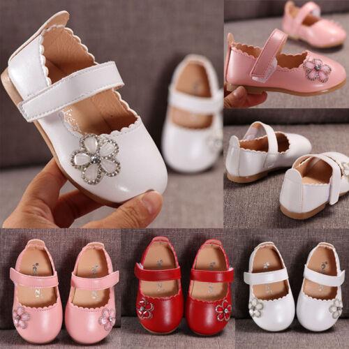 Infant Kids Baby Girls Elegant Crystal Flower Single Princess Casual PU Shoes US