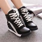 Women/Girl Sneaker Sport Comfort Rivet Hidden Wedge Heel High Shoes AU Size Good