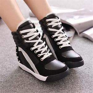 Frauen Komfort Sneaker Sport Soft Nieten Versteckte Keilabsatz High Schuhe Wei? TUUpQS