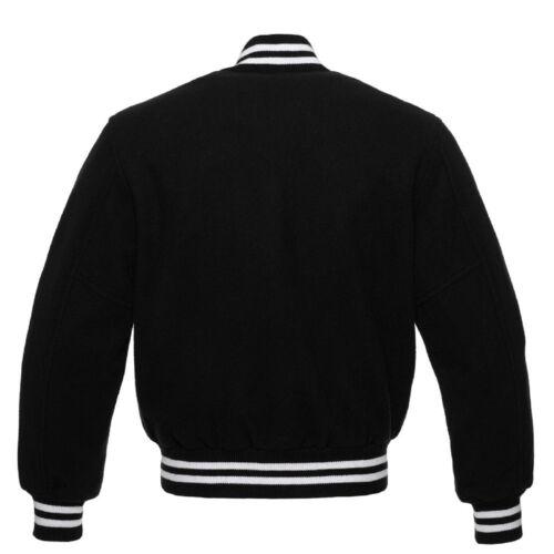 Varsity Black Letterman Rib Wool College Giacche Tutto nerobianco Bomber PiTuOkXZ