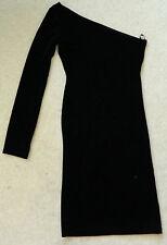 MOTEL BLACK VELVET ONE LONG SLEEVE DRESS MINI SHORT BODY CON. NWOT UK XS 6 - 8