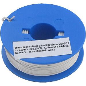 0,24€/m incl. De Versand 25m SuperTemp extremflexible Litze 0,064mm² ...