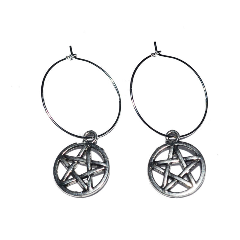 Pentagram Charm Hoop Earrings, Boho, Bohemian, Goth,gothic, Pentacle A3