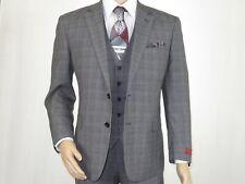 Mens Renoir  3 Piece Vested Suit Glen Plaid Notch Lapel Business 278-1 Gray New