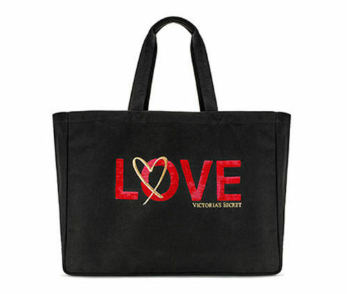 VICTORIAS SECRET BLACK LOVE CANVAS TOTE BAG WEEKENDER Limited Edition 2018 NEW