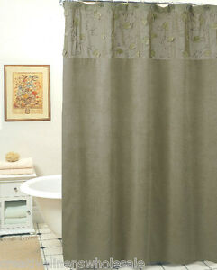 Image Is Loading Morning Leaf Suede Fabric Shower Curtain Sage Green