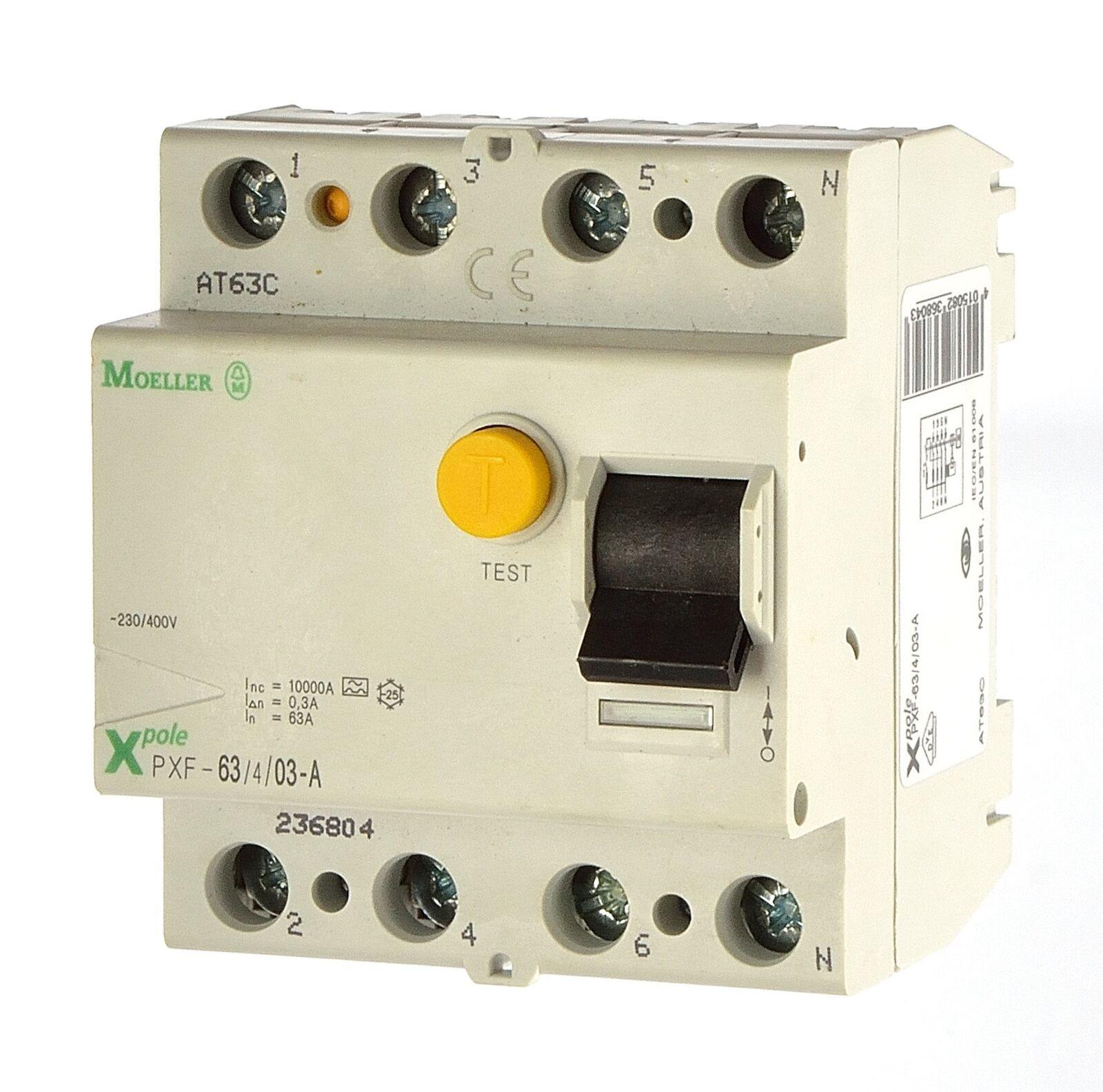 Moeller PXF-63 4 03-A Fi Schalter 4polig 0,3A 236804  Fehlerstromschutzschalter
