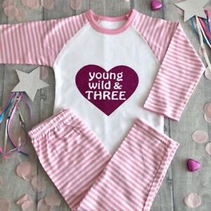 3RD-BIRTHDAY-PARTY-PYJAMAS-Young-Wild-amp-Three-Pink-Glitter-Heart-Pink-White-PJs