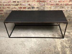 Table basse dessus placage bois et pieds en métal vintage 80'S
