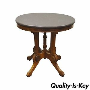 Image Is Loading Antique Victorian Marble Top Carved Walnut Oval Eastlake