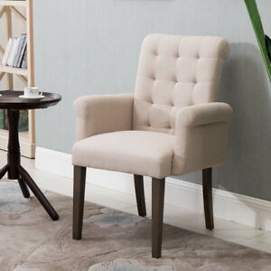 Fabric-Tufted-Dining-Chair-Accent-Chair-w-Armrest-amp-Solid-Wood-Legs-Grey-Beige