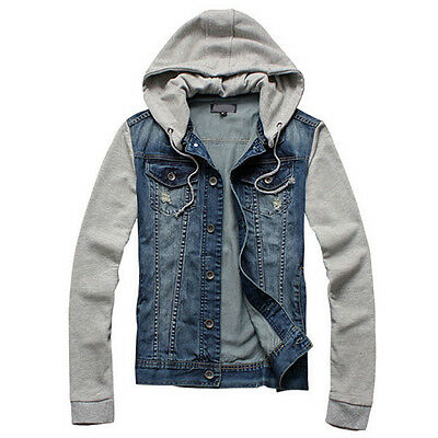 Fulinken Vintage Mens Jean Jacket Slim Hoodie Single Breasted Denim Overcoat
