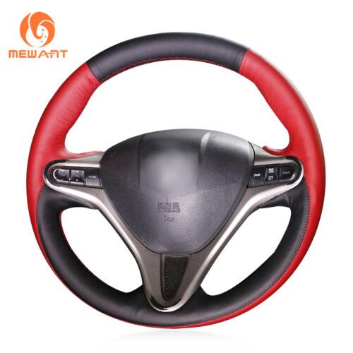 3Spoke Black Red Leather Steering Wheel Wrap for Honda Civic Civic 8 2006-2011