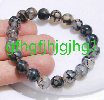 "10 mm Black /& White Dragon Veins Agate Gemstone Round Beads Necklace 18/"" AAA"