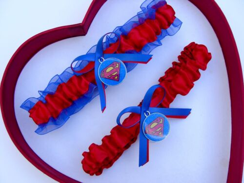 New Handmade Superman Wedding Garter Blue Red Yellow Superhero Garter Prom