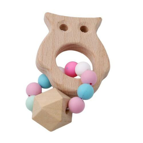 Non-toxic Animal Wooden Teether Ring Infant Teething Bracelet Chewing Toys Z