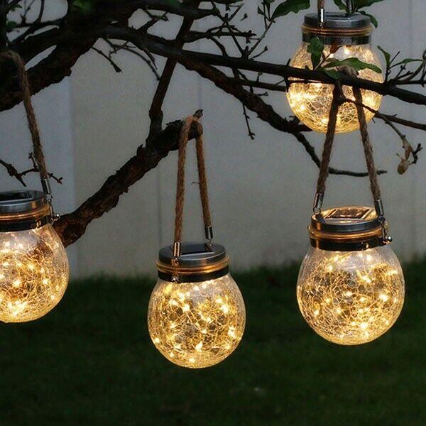 Lampara luz colgante solar led exterior jardin decoración arbol bodas eventos