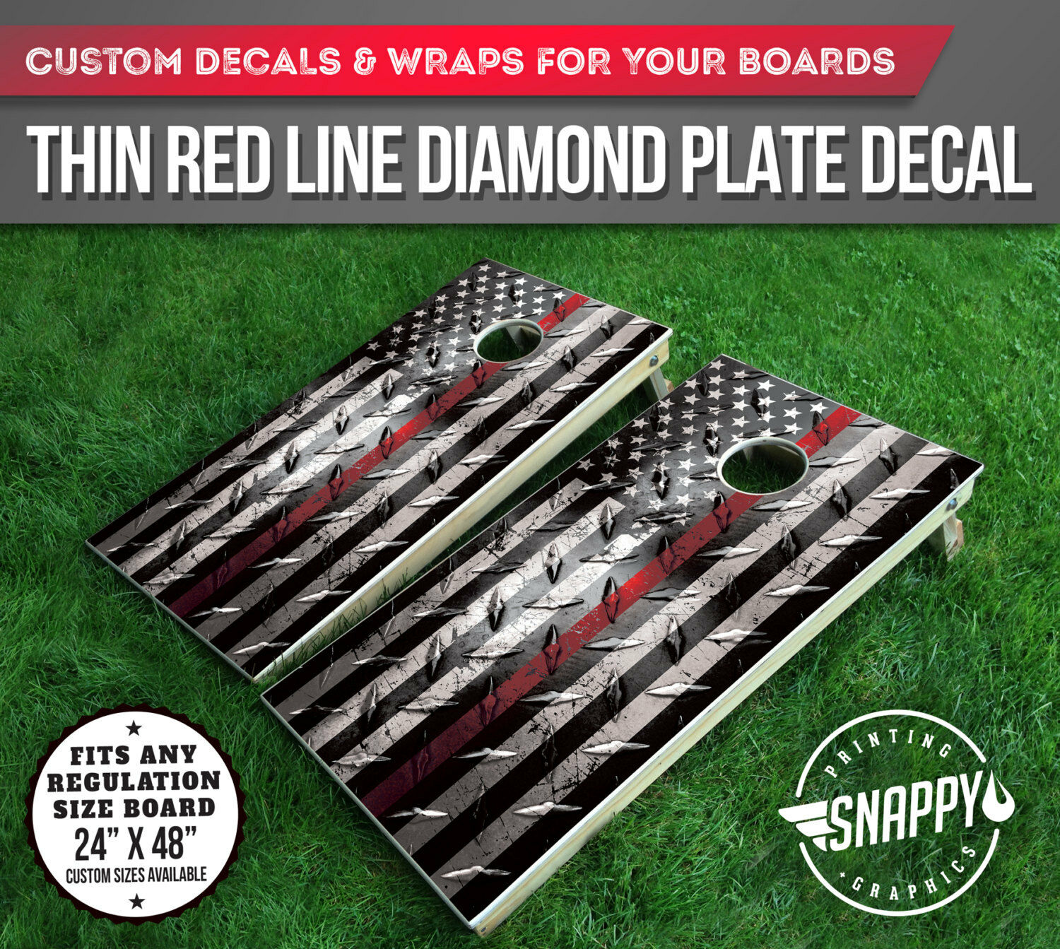 Thin Red Line American Flag Diamond Plate Look Cornhole Decal  - Vinyl Decal Wrap  convenient
