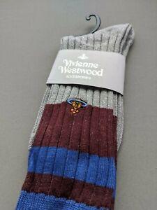 Vivienne Westwood Mid-Calf socks Cotton - Maroon Royal Blue silver velvet
