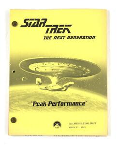 "STAR TREK: TNG ORIGINAL SCRIPT-  ""Peak Performance,"" Written by David Kemper"